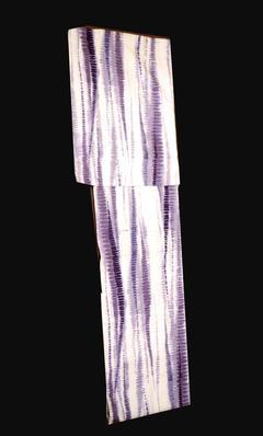仕立て上がり男物ゆかた NO4白地に板締め調染め変わり薄紫縦縞模様柄Mサイズ送料無料