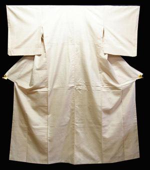 正絹紬きもの NO10白地に赤の井桁絣柄送料無料【smtb-TD】【yokohama】【中古】