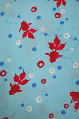 許多在名牌浴衣山本美月浴衣NO2藍色地可愛的金魚夏天的風景線縫製上浴衣早的者勝利