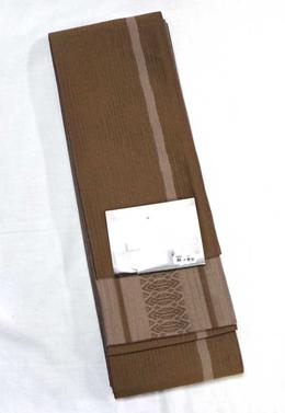角帯 NO22渋め金茶地に薄ベージュの一本どっこ柄粋な男のユニークな色あわせの帯ですモダン感覚のセンスかなリバーシブル
