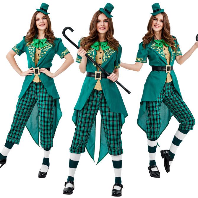 ハロウィン アイルランド 妖精 民族衣装 マジシャン サーカス 猛獣使い グリーン 仮装?コスプレ衣装 ps3660