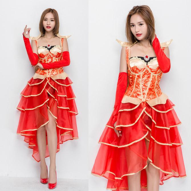 ハロウィン 宮廷風 アルゼンチン カルメン ヨーロッパ風 ドレス レッド 女王 花嫁 舞台 ダンス コスプレ衣装 ps3261