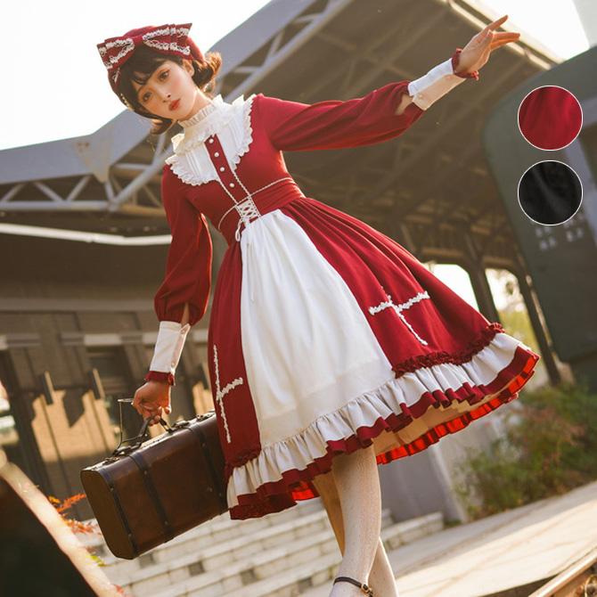 ロリータ ゴスロリ Lolita ミディアム丈 ワンピース 2色 レディース 可愛い 華麗 長袖ワンピース コスプレ衣装(yoma-27)