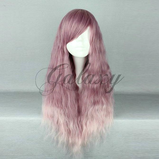 原宿ガール 可愛い ロリータ パープル・ピンク 巻き髪 ロング コスプレウィッグ wig-468a