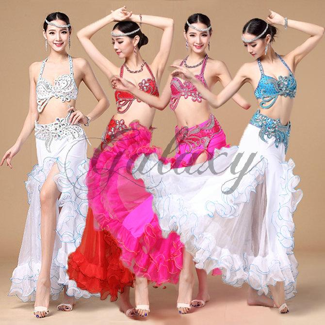 ベリーダンス インドダンス 4色 上下セット 優雅 セクシー 高品質 豪華 ダンス衣装 rywj01092【送料無料】