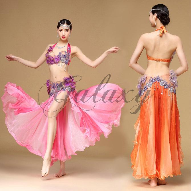 ベリーダンス インドダンス 2色 上下セット 優雅 セクシー 高品質 豪華 ダンス衣装 rywq01203【送料無料】