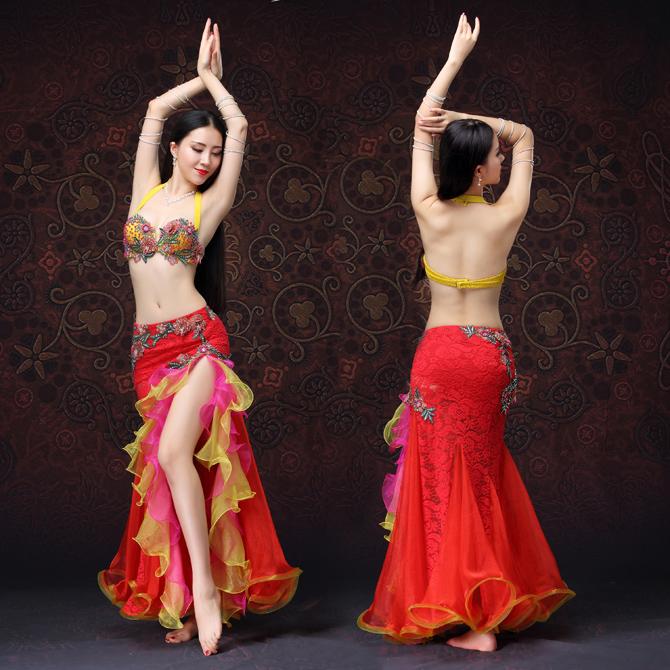 ベリーダンス インドダンス 2色 上下セット レース 優雅 セクシー 高品質 豪華 ダンス衣装 rywq01488【送料無料】