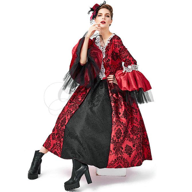 魔女 悪魔 女王 クイーン ヨーロッパ風 豪華 ドレス 吸血鬼 ヴァンパイア バンパイア ハロウィン S-XL 仮装 コスプレ衣装(ps3696)