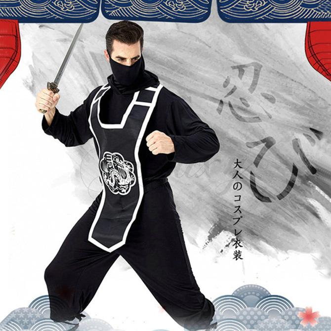 忍者服 武士 忍者 メンズ 男性用 ブラック ハロウィン 演出用 仮装 コスプレ衣装(ps3711)