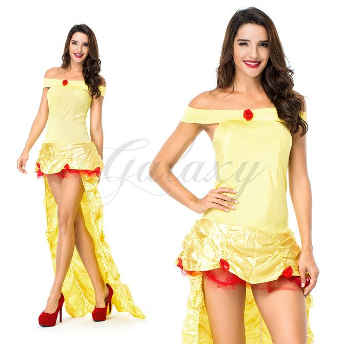 ハロウィン お姫様 プリンセス 童話 イエロー ワンピース ドレス 仮装 変装 パーティー コスプレ衣装 ps3538