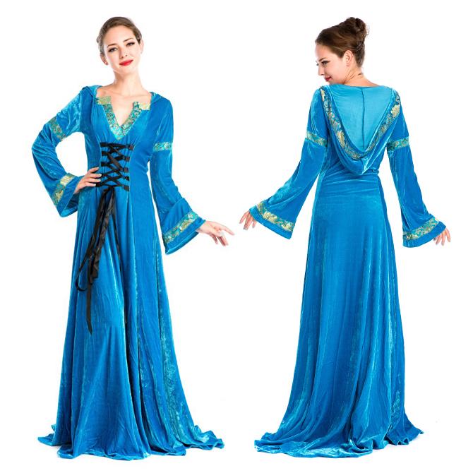 ハロウィン 宮廷風 中世期 ヨーロッパ風 女王 貴族 女神 ブルー ドレス 仮装 変装 コスプレ衣装 ps3564
