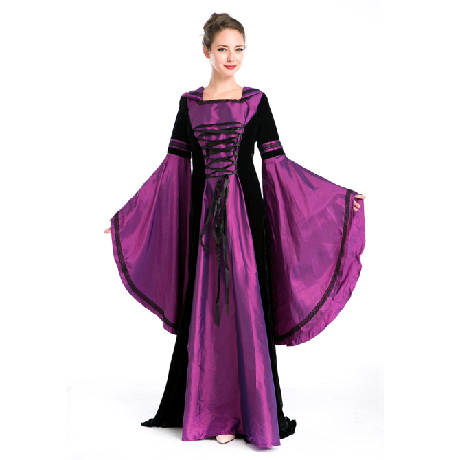 ハロウィン 宮廷風 中世期 ヨーロッパ風 女王 貴族 女神 パープル 帽子付き ドレス コスプレ衣装 ps3569