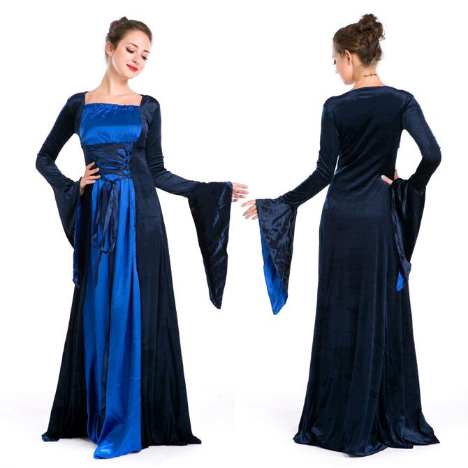ハロウィン 宮廷風 中世期 ヨーロッパ風 女王 貴族 女神 ブラック・ブルー ドレス コスプレ衣装 ps3575