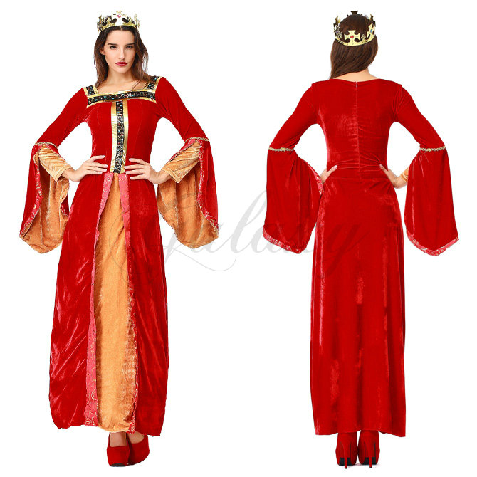 ハロウィン 王女 貴族 女王様 ヨーロッパ風 プリンセス ワンピース レッド ドレス コスプレ衣装 ps3607