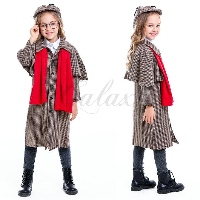 探偵 シャーロック・ホームズ風 イギリス風 子供用 キッズ 親子衣装 S-XL ハロウィン コスプレ衣装(ps3801)