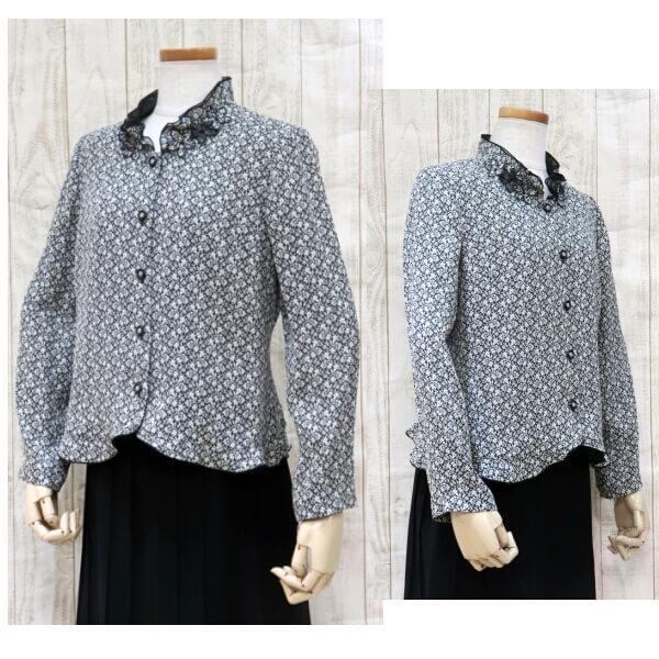 ハイミセス フォーマルジャケットブラウス 小花柄ジャガード織り 日本製素地使用 お母様 お婆様の衣装に 50代 60代 70代