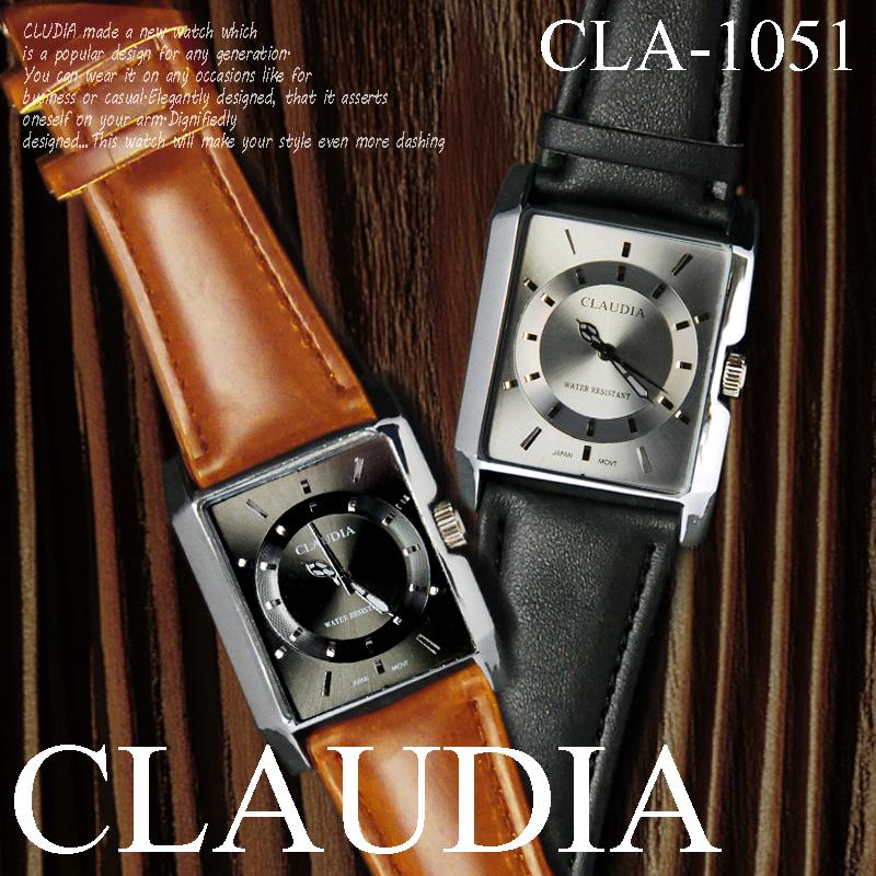 期間限定SALE!! 時計 ケース付 送料無料 1990円→値下げ 人気モデル  クォーツ スクウェアー メンズウォッチ-CLAUDIA- 腕時計 CLA-1051