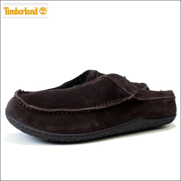 Timberland (ティンバーランド) 【メンズ】 レザースリッポン ボア付き 靴 シューズ 革 スエード レザー KICK AROUND MULE (DARK BROWN ダーク ブラウン) 5940A