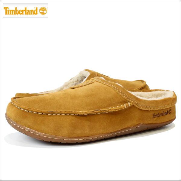 Timberland (ティンバーランド) 【メンズ】 レザースリッポン ボア付き 靴 シューズ 革 スエード レザー KICK AROUND MULE (TAN タン) 5941A