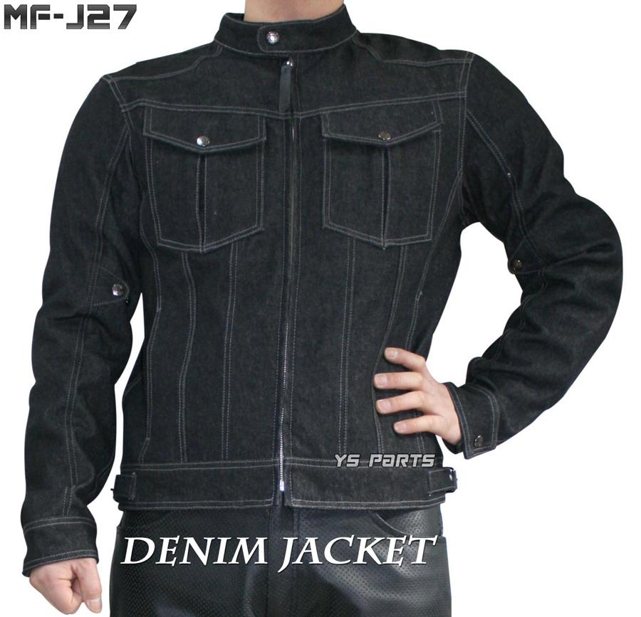 【処分特価】モトフィールドMF-J27 5点式脱着式パッド装備デニムジャケット ブラック各サイズ【脱着可能 肩/肘//脊椎パッド付属】