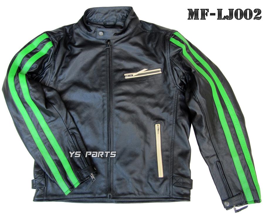 【特注品】MF-LJ002脱着式5点式パッド付ワンオフレザージャケットブラック/グリーンダブルライン S/M/L/LL/3L各サイズ