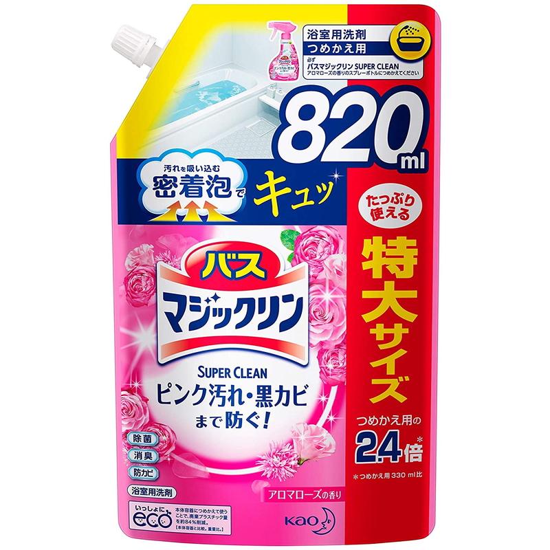 洗浄はもちろん 菌由来の汚れも防ぐ 花王 バスマジックリン 本日限定 全品送料無料 泡立ちスプレー アロマローズの香り CLEAN 820ml つめかえ用 SUPER