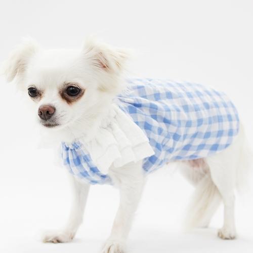 ティアードスリーブスモック型紙 ばらばら印刷 胴長小型犬S~M