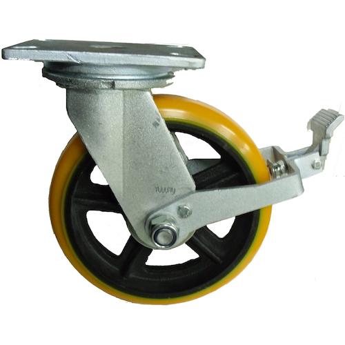 TR ヨドノ 重量用高硬度ウレタン自在車200φストッパー付 注文単位:1個