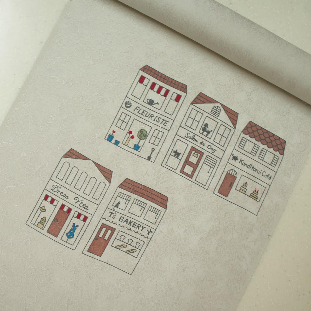 正絹紋意匠染帯 染帯 お店屋さん柄 薄いグレー地