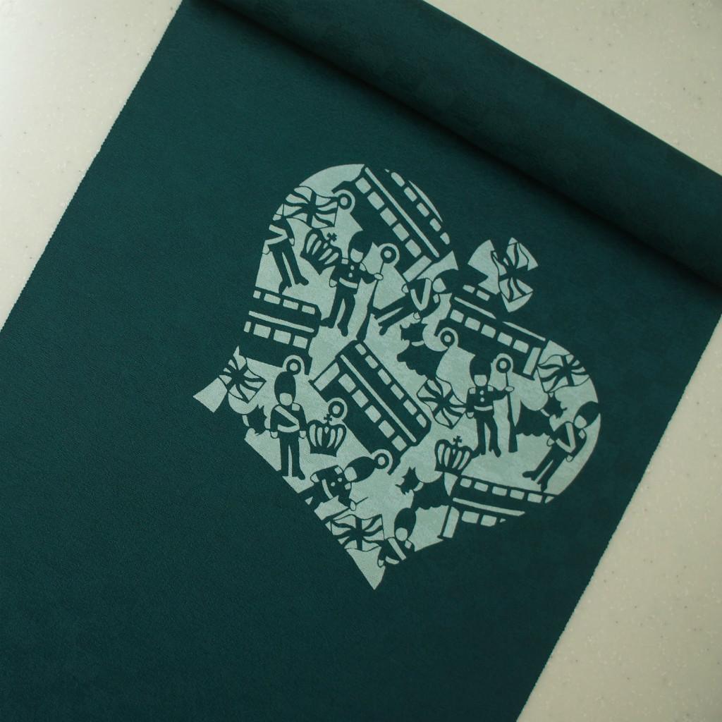 正絹紋意匠伊勢型染帯 イギリス ロンドン 染帯 青緑色 お仕立付き お買い得品