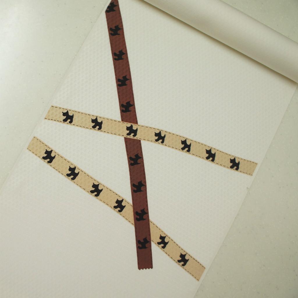 正絹紋意匠染帯 極薄いクリーム地  テリア・リボン 染め帯