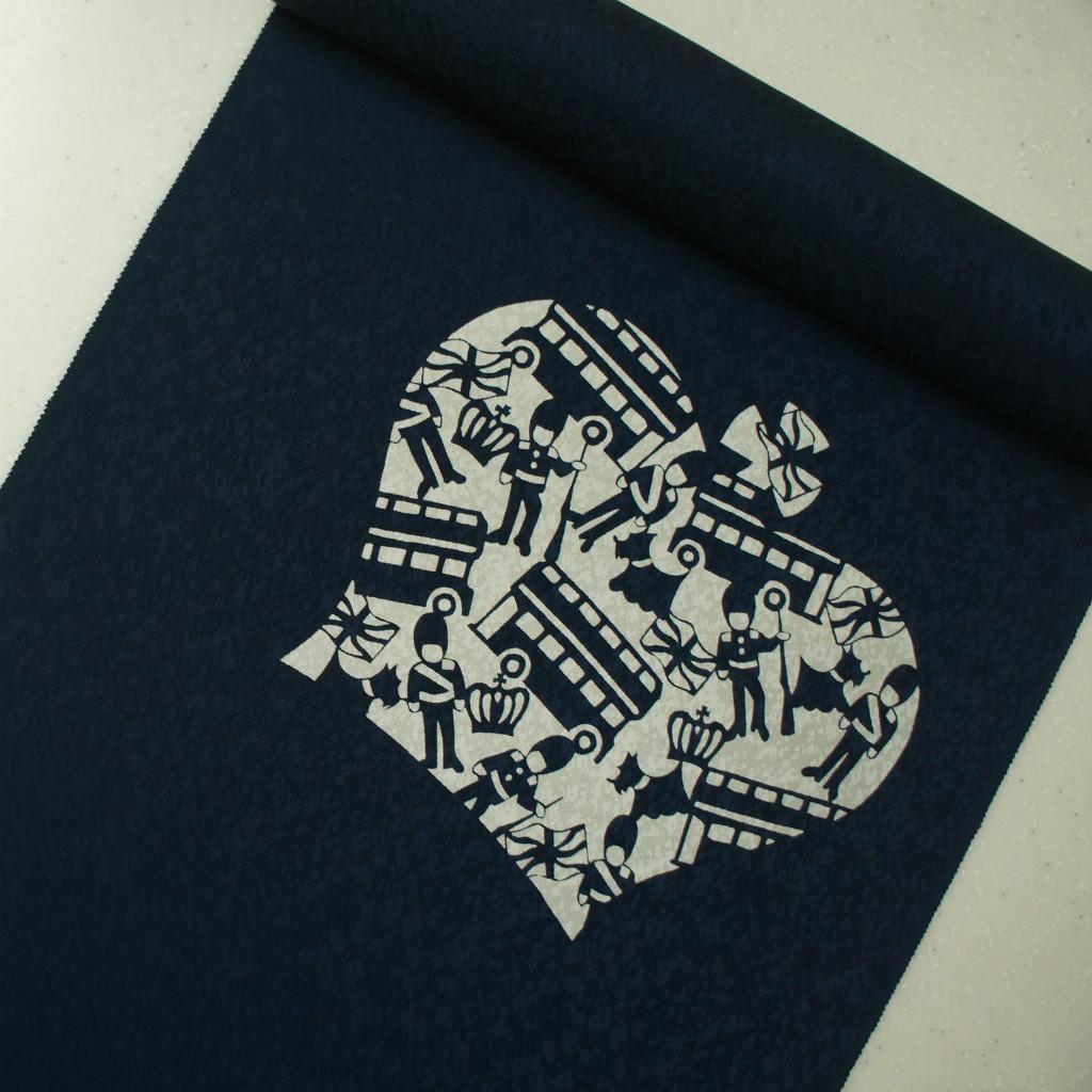 正絹紋意匠伊勢型染帯 染め帯 濃紺地