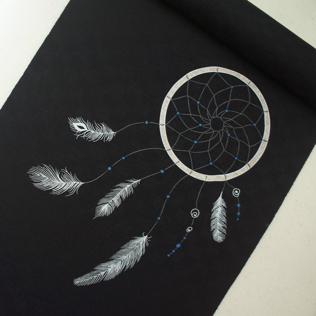正絹紋意匠染帯 ドリームキャッチャー柄 染帯 黒地