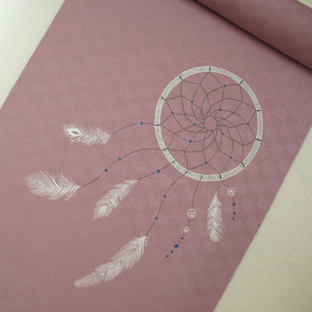 正絹紋意匠染帯 ドリームキャッチャー柄 染帯 薄ブドウ色地
