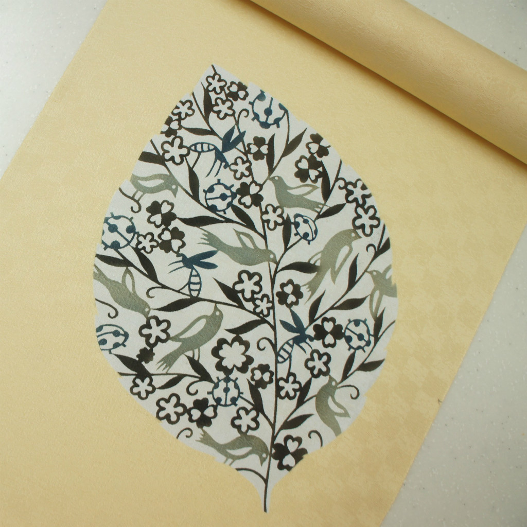 正絹紋意匠伊勢型染帯 リーフ柄 染帯 クリーム地 小鳥