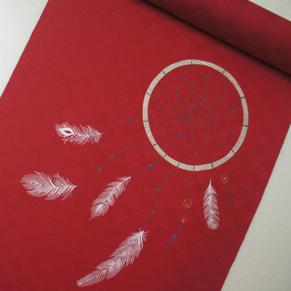 正絹紋意匠染帯 ドリームキャッチャー柄 染帯 ワインレット地
