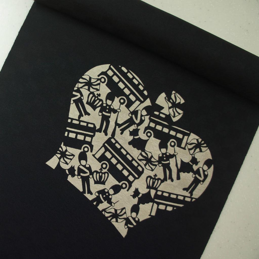 正絹紋意匠伊勢型染帯 染め帯 黒地