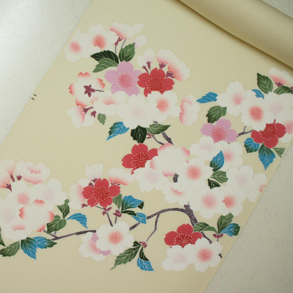 正絹紋無地糸目手挿し友禅帯 染帯 薄いクリーム地 桜柄