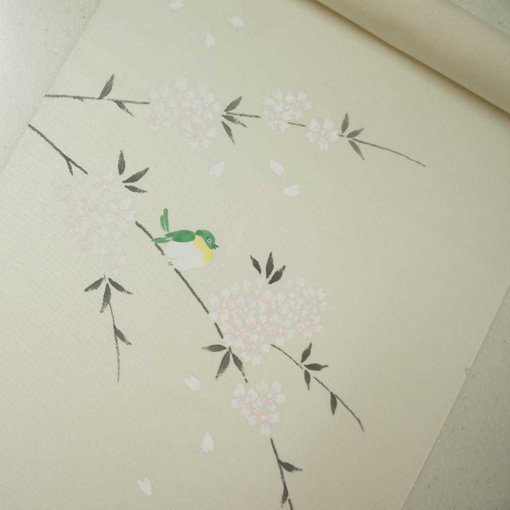 正絹織地手描き染帯 極薄いクリーム地 お仕立て付き 小花に小鳥 お買い得品 染帯
