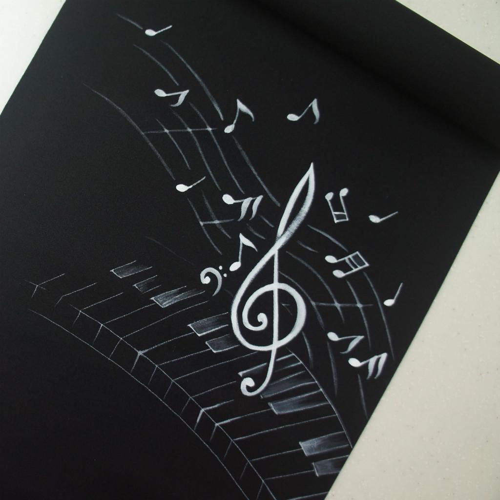 正絹織地手描き染帯 黒地 お仕立て付き ピアノに音符柄 お買い得品 染帯