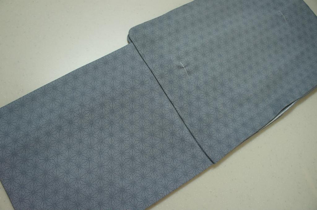 洗える着物 袷 江戸小紋 Lサイズ 麻葉鮫小紋柄 銀灰色