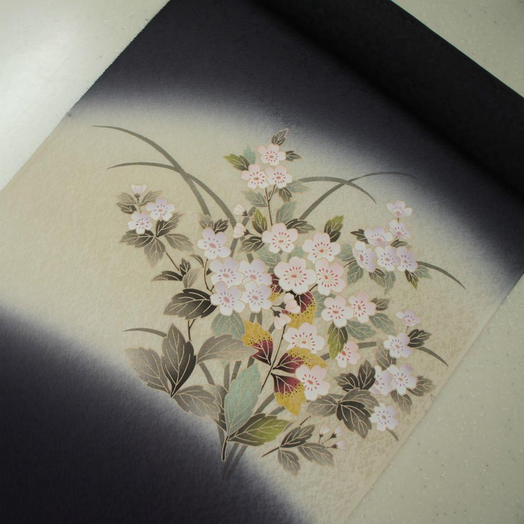 正絹紋意匠摺り友禅染帯 染帯 引き染巻ぼかし 濃く渋い紫地