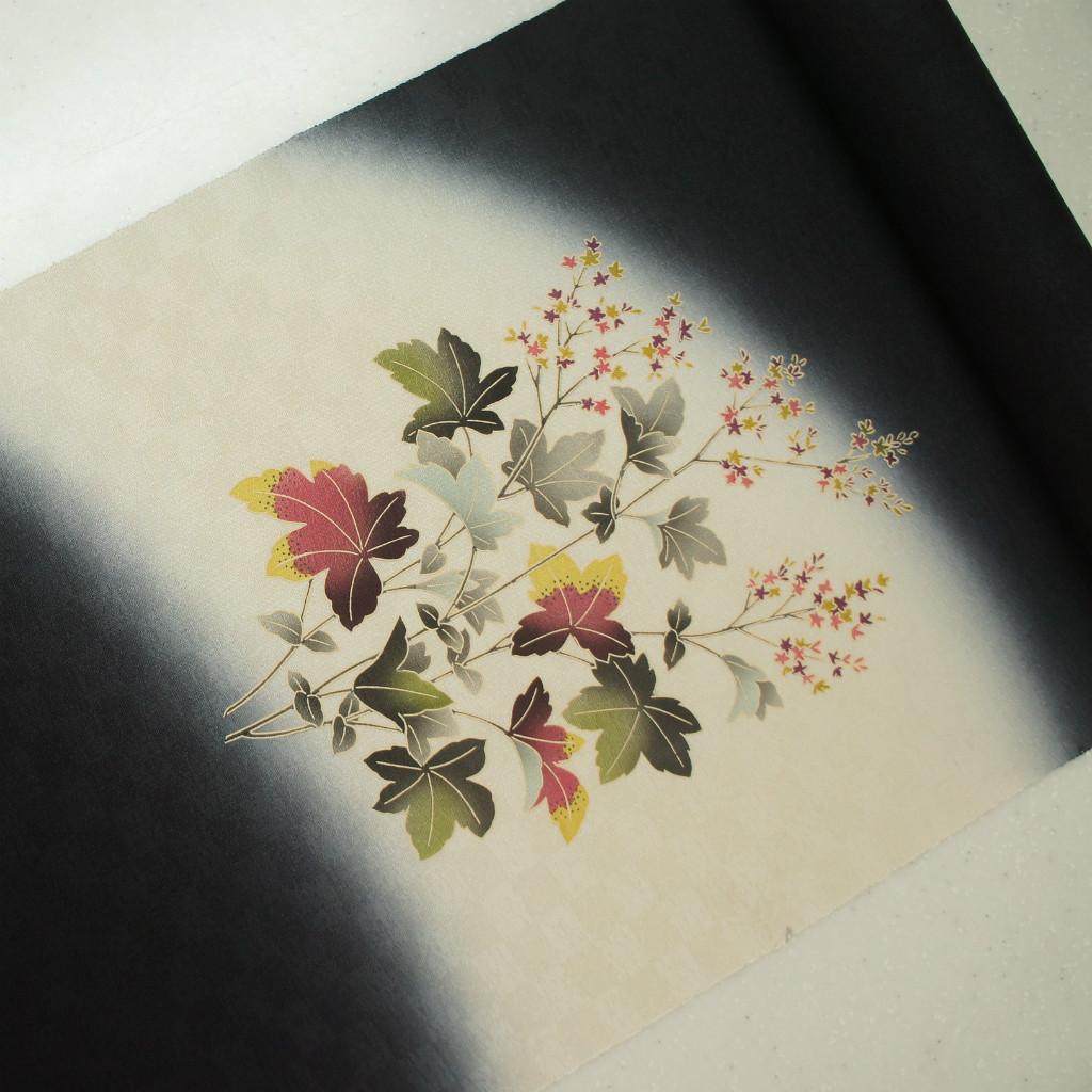 正絹紋意匠摺り友禅染帯  染帯 黒地 送料無料