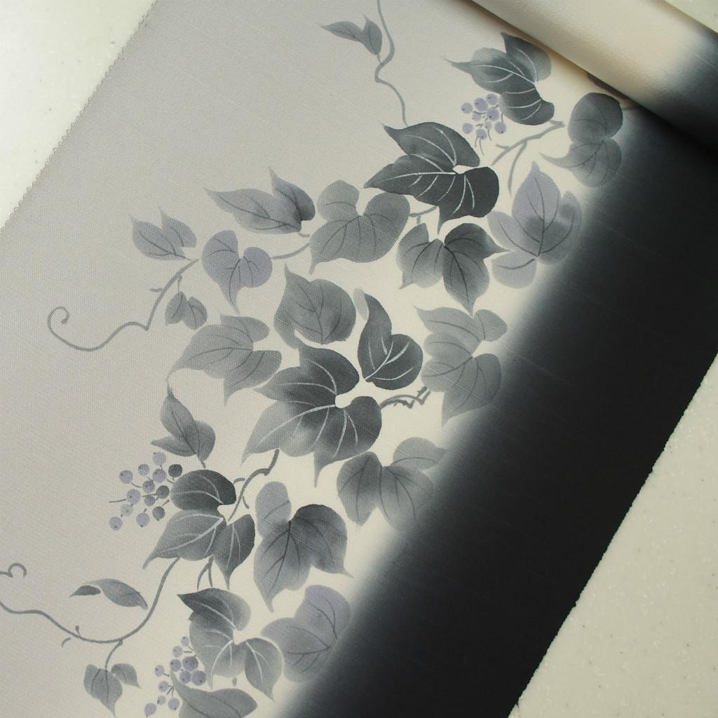 正絹紬引きぼかし9通帯 たれ先無地 手描き 染帯  蔦と実