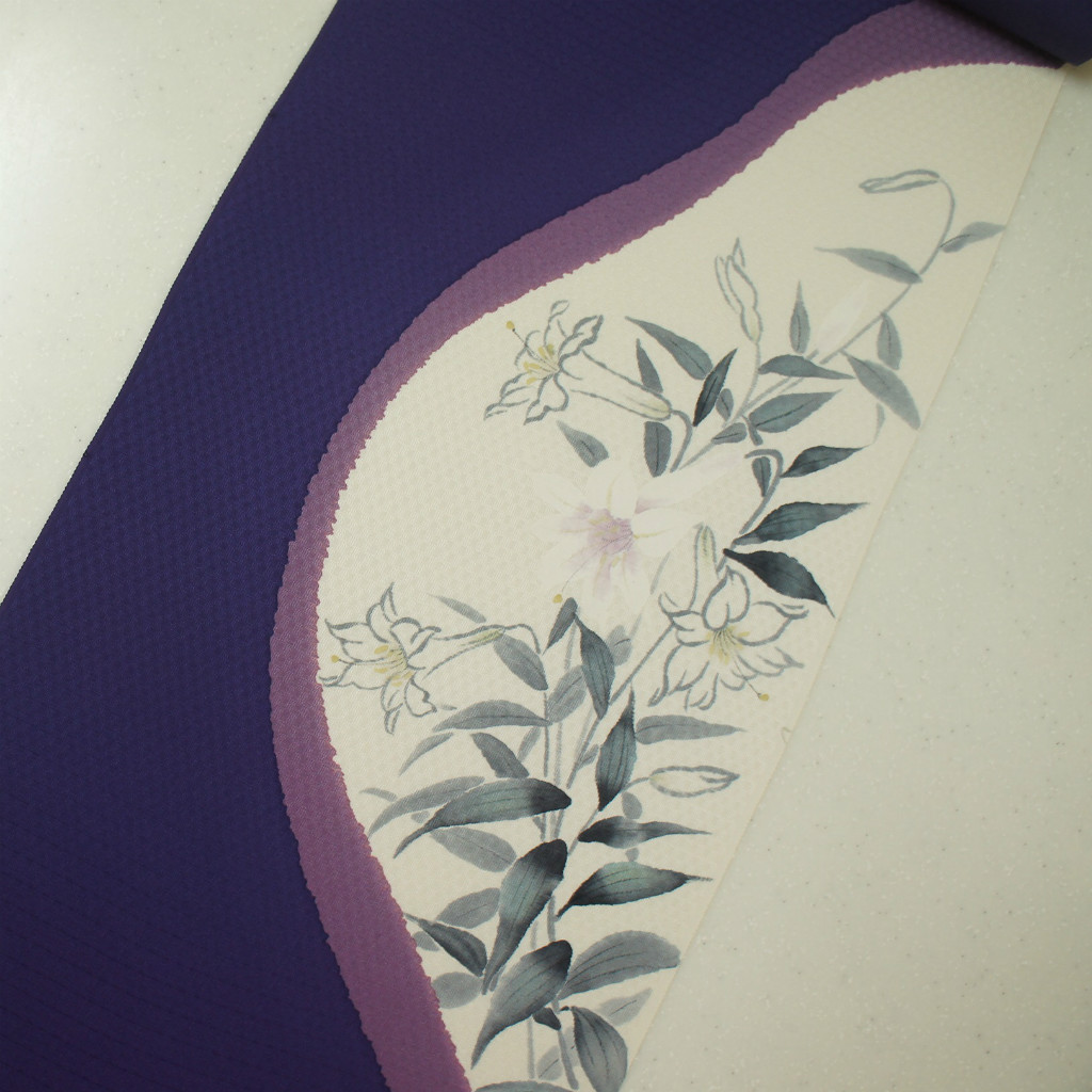 染め帯 引き染 3度引き カサブランカ ユリ柄 正絹紋意匠手描き友禅染帯 数量限定アウトレット最安価格 商い 濃紫地