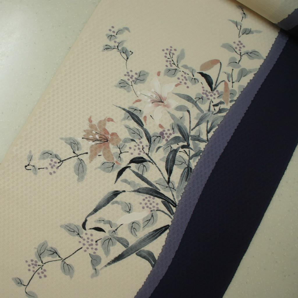 正絹紋意匠手描き友禅 染帯 紫紺地 ユリ 染め帯