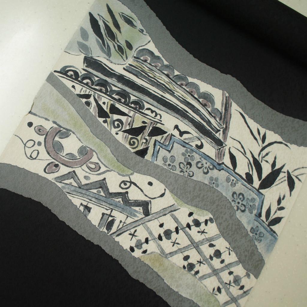 正絹紋意匠手描き友禅染帯 黒色 抽象柄 染め帯