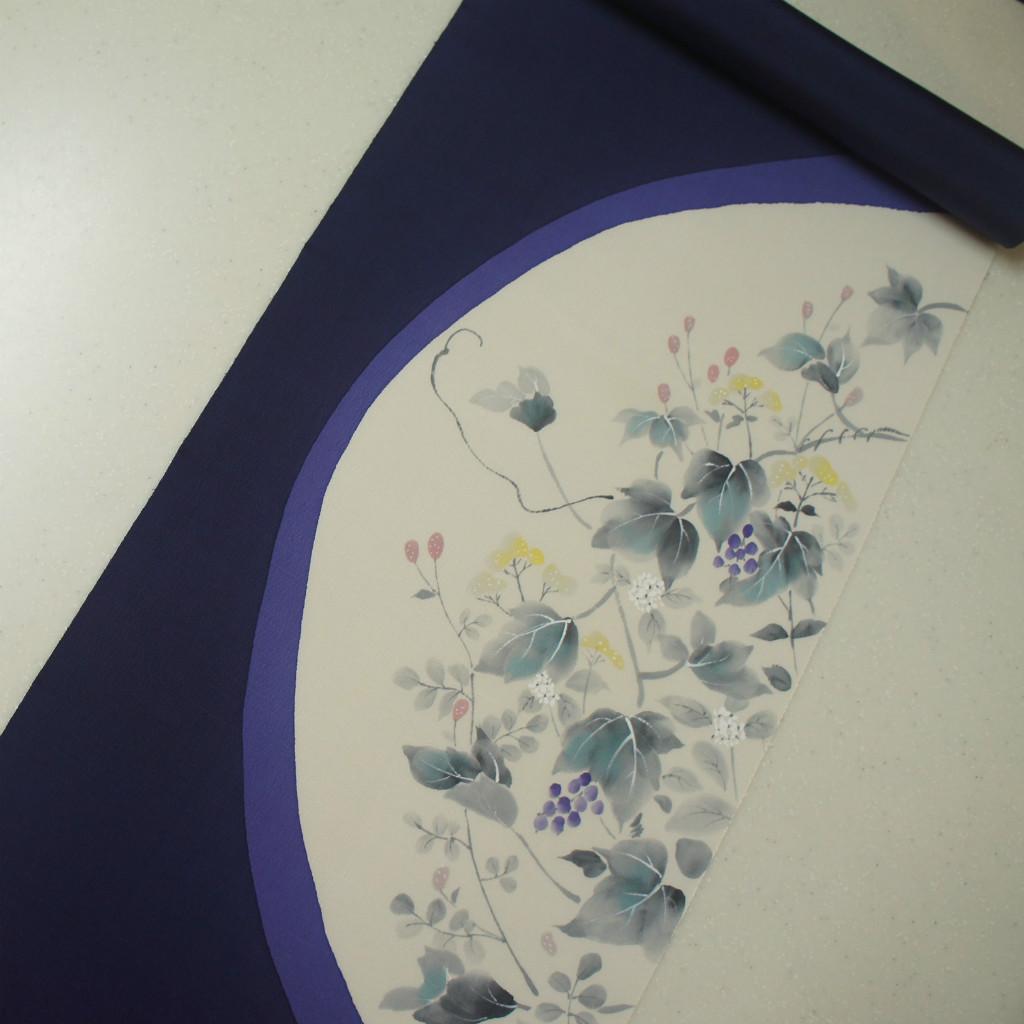 正絹紬手描き友禅染帯 紫紺地 蔦・ぶどう柄 染め帯