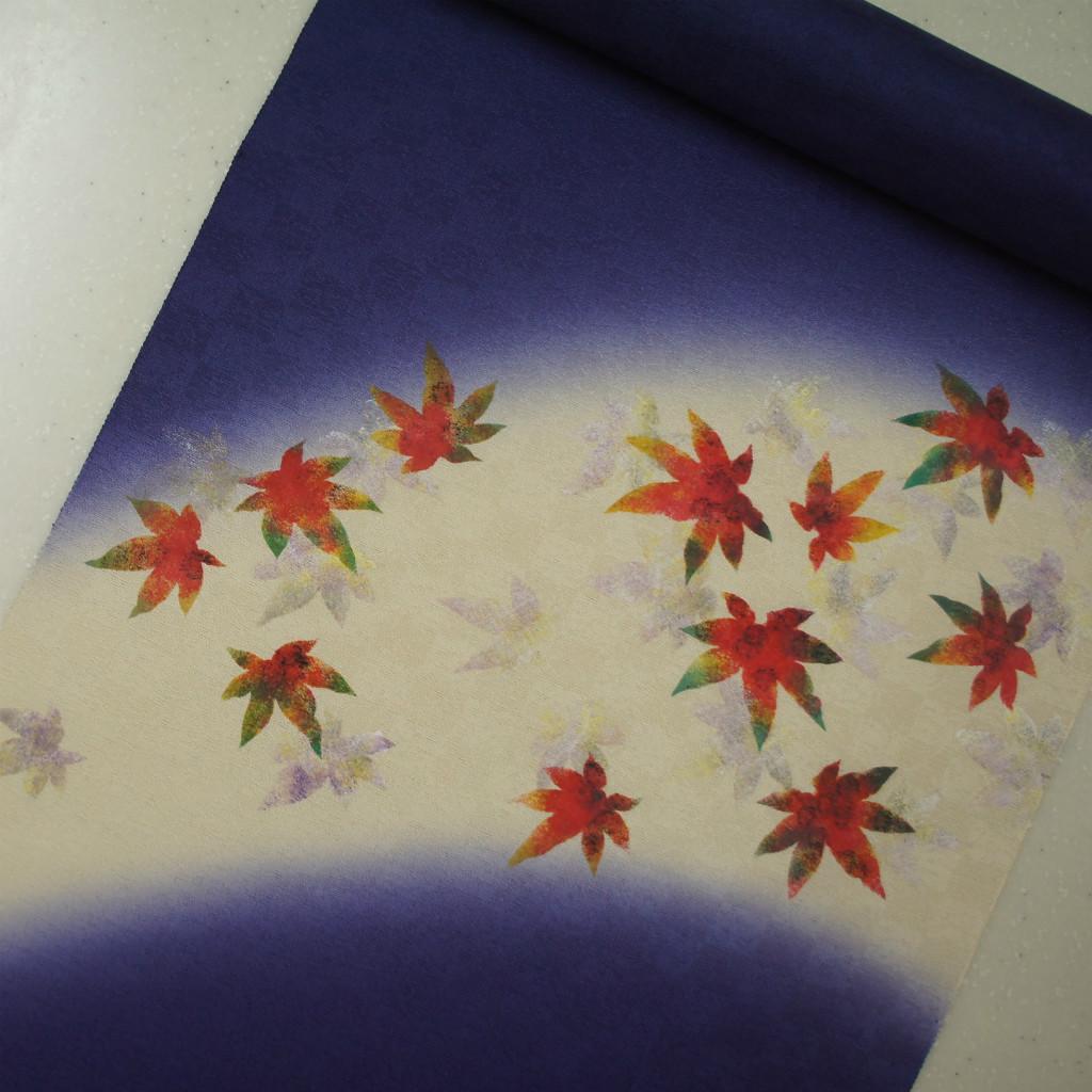 正絹紋意匠染帯 染帯 タタキ染め 紫紺地