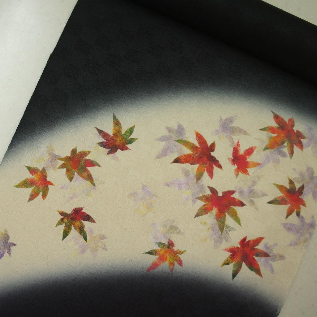 正絹紋意匠染帯 染帯 タタキ染め 黒地